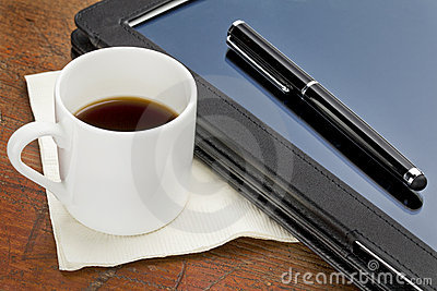 Tablet computer, stylus and coffee