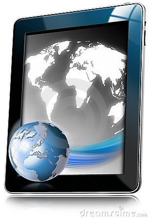 Tablet Computer With World Map