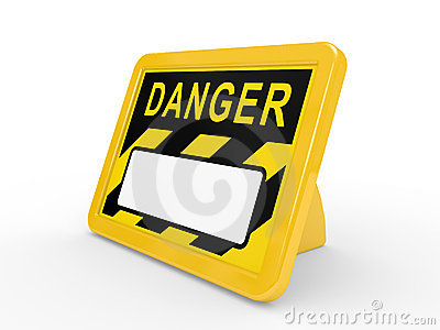 The tablet DANGER on a white background
