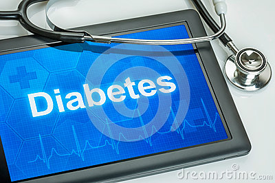 Tablet with the diagnosis diabetes