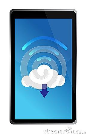 Tablet die met een wifiwolk wordt verbonden