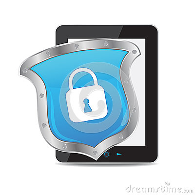 Tablet and key on white background