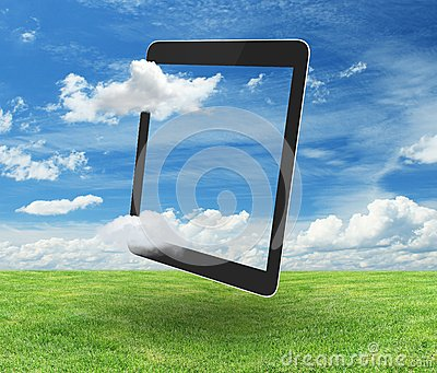 Tablet on nature