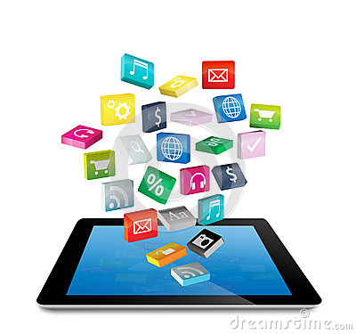 Tablet PC with application icons