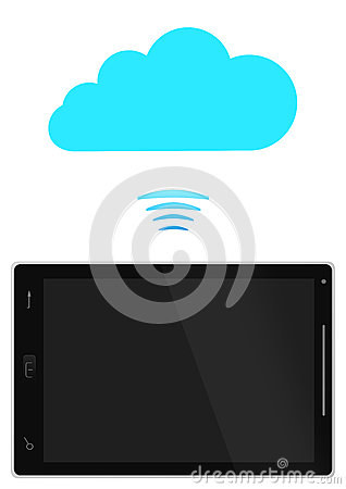Tablet PC with blue cloud