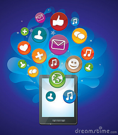 Tablet pc with bright social media icons