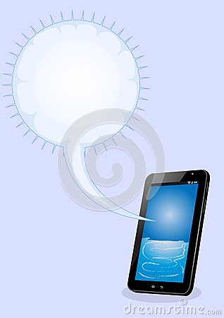 Tablet pc with bubble text  on blue