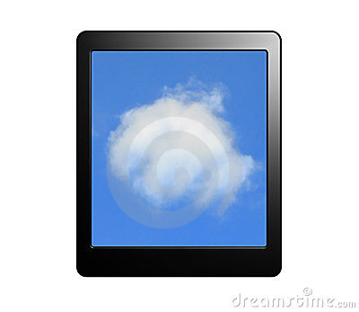 Tablet pc with cloud for Cloud computing concept