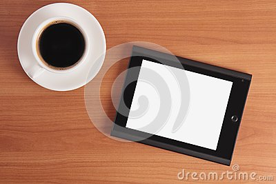 Tablet PC and coffee.