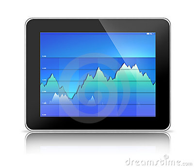 Tablet PC Computer with Blue Graph