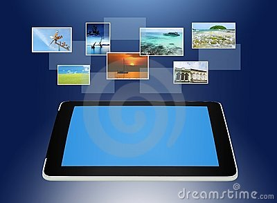 Tablet PC concept of global business