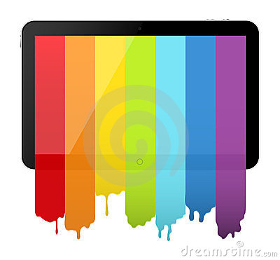 Tablet PC with rainbow paint