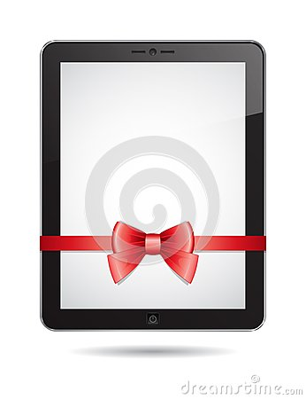 Tablet PC with red bow
