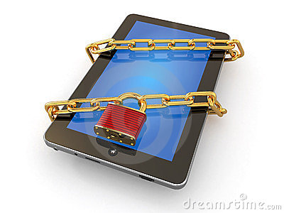 Tablet pc security. Chain with lock on computer.