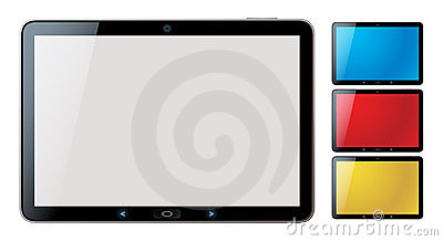 Tablet pc set with copyspace - isolated vector