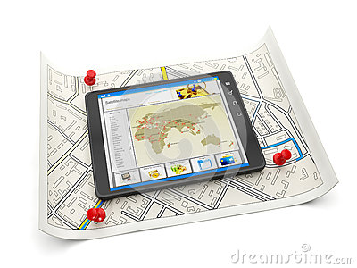 Tablet PC with a site map and a m