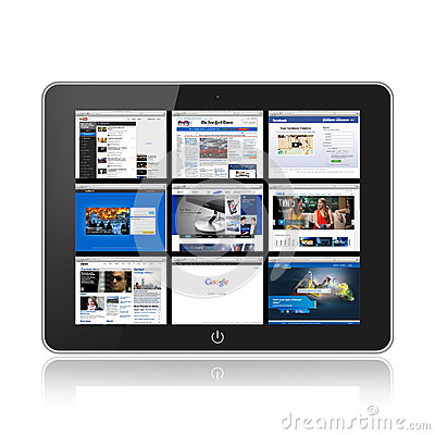 Tablet pc with social web media Editorial Stock Image