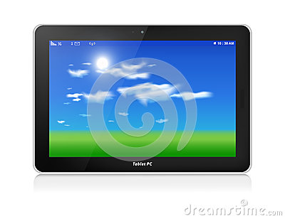 Tablet PC. Vector. Horizontal. Fondo del cielo azul