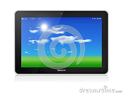 Tablet-PC. Vektor. Horizontal. Hintergrund des blauen Himmels
