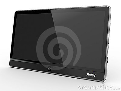Tablet pc on white background. 3d