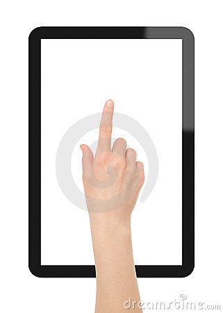 Free Tablet PC With Hand Royalty Free Stock Image - 19381116