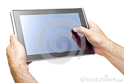 Tablet PCs in the hands of men