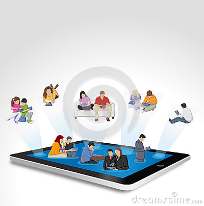 Tablet with people