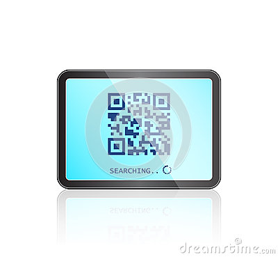 Tablet with QR code on Touch Screen