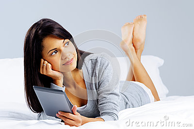 Tablet reading woman