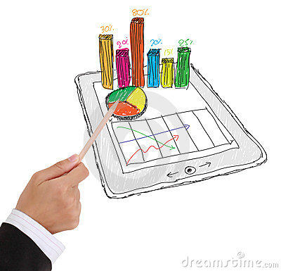 Tablet showing a spreadsheet with  charts