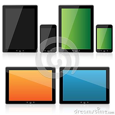 Tablet and smartphone set Vector Illustration