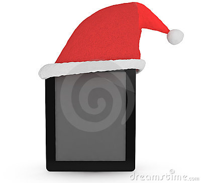 Tablet with xmas hat