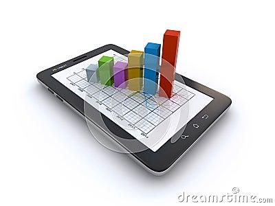 Tableta y gráfico de negocio