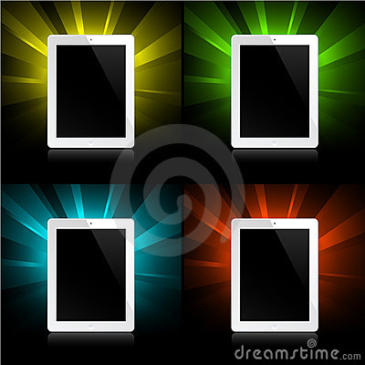 Tablets on shining background