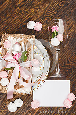 Free Tableware And Silverware With Puffy Light Pink Roses Stock Image - 92703541