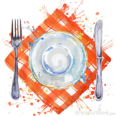 Free Tableware, Cutlery, Plates For Food, Fork, Table Knife And A Cloth Napkin. Watercolor Background Illustration Stock Photos - 57732893