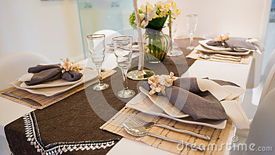 Tableware on dinning table