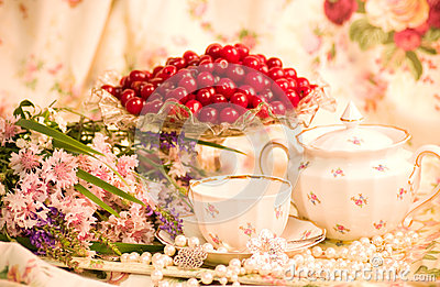 Tableware, raspberry, cherry and flowers