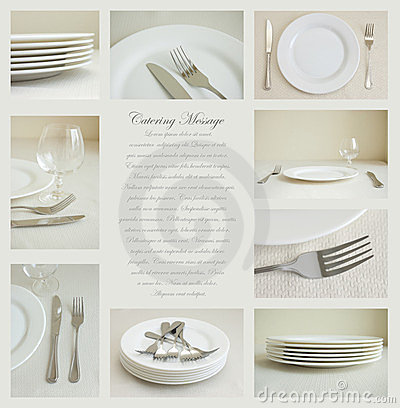 Tableware with white dishes