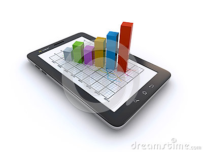 Tabuleta e gráfico de negócio