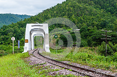 Tachompu Railway Viaduct on the North of thailand