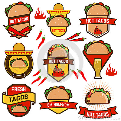 Set of Mexican taco design elements, labels,badges and icons. Mexican ...
