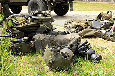 Tactical equipment of special forces soldiers.