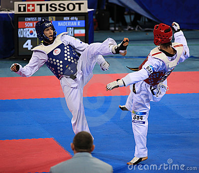 Taekwondo action Editorial Stock Photo