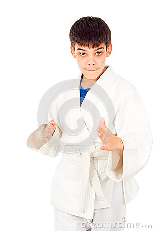 Taekwondo class boy isolated