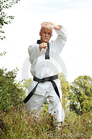 Taekwondo fighter outdoor
