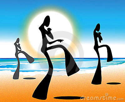 Taekwondo shadow man on beach with sun rise