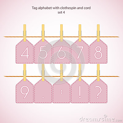 Tag alphabet with clothespin and cord