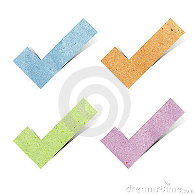 Tag Check mark recycled paper craft