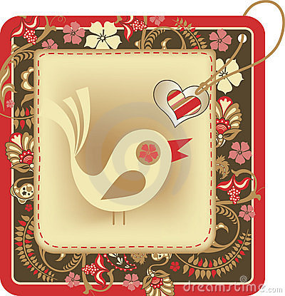 Tag with floral frame and cartoon bird